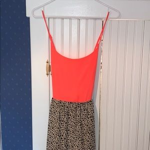 Neon coral and leopard spotted maxi dress